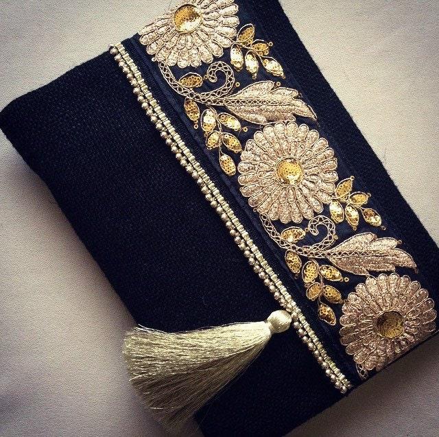 Black ethnic clutch black jute handmade handbag gold colour - Abanicos pintados a mano originales ...
