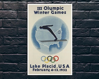 Olympic Winter Games, Lake Placid Poster, Vintage Sport Poster, Tourism Wall Art, Vintage Travel Poster Print, Sticker and Canvas Print