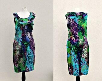 Silk dress Multicolored  Blue Silk dress Evening Dress Semi formal dress for women Evening dress Planet