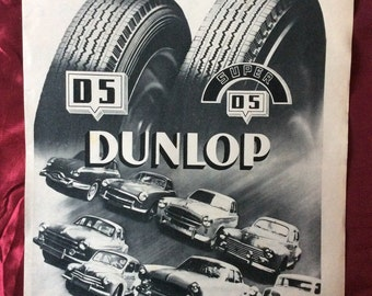 Dunlop Tyres 1955 Original Advert From French Magazine