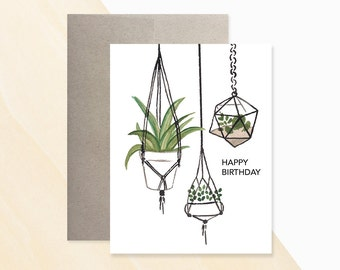 Hanging Plants Birthday Card, Urban Jungle, Birthday Card Designs, Birthday Card Wishes, Send A Birthday Card, Greeting Card Messages