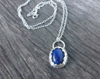 OOAK Lapis Lazuli Necklace | Blue Lapis Necklace | Rustic Sterling Silver Pendant | Blue Necklace | Natural Gemstone Jewelry | One of a Kind