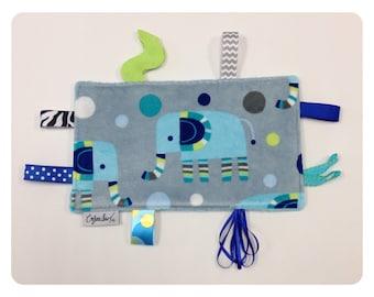 Elephant tag toy, sensory toy, baby crinkle paper, crinkle toy, elephant baby toy, elephant baby gift