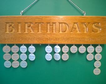 Engraved birthday reminder plaque