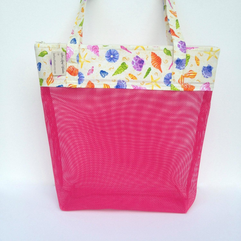 Seashell Collecting Mesh Bag Beach Toys Bag Pink Beach Bag