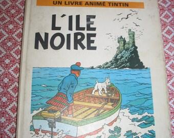 Album animated pop Tintin hop Island black - E.O. 1970 - Hergé French edition