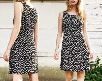 MOVING SALE Vintage 90s Es-se Slinky Black + White Allover Mini Floral Tank Top Short Sun Dress S