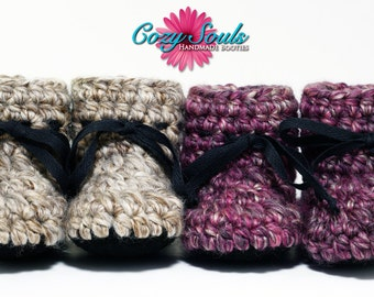 Cozy Souls Handmade Booties - Cozy Wool Blend, Non-Slip Leather Soles, Faux Fur Insoles - One pair - Size 6-12 Months