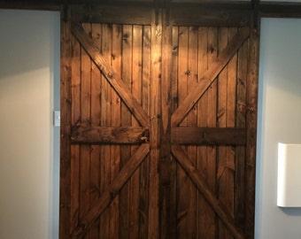 Farm Style Sliding Barn Doors. -  Stained Finish