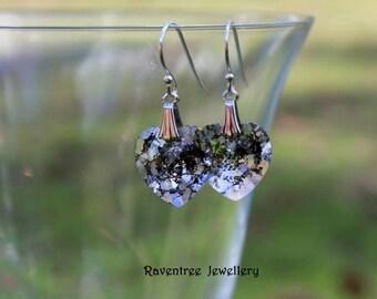 Swarovski crystal heart earrings. Patina Earrings. Sterling Silver earrings. Swarovski Heart Earrings. Crystal earrings. Gift for her.