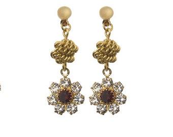 Earrings with Vintage Swarovski Flower
