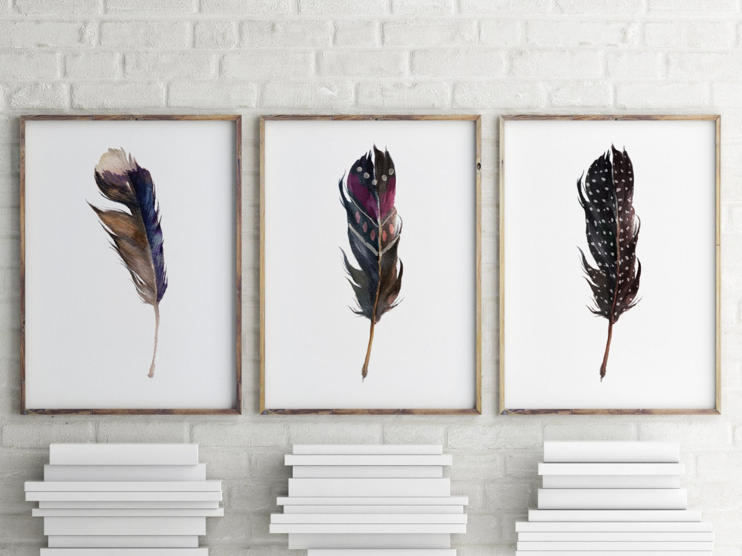 Prints For Wall Decor : Printable art set of wall feather print home