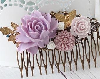 Bridal Hair Comb - Lavender Rose Hair Comb - Floral Hair Comb - Hair Comb - Vintage Style Bridal Hair Comb - Mom Gift - Bridesmaid Gift
