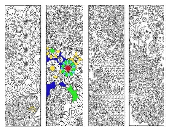 Bookmarks Coloring Printable, scaleable PDF file super quality, Instant Download. 45v.