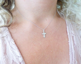 Tiny Cross Necklace, Dainty Thin Sterling Silver Necklace, Delicate Everyday Necklace, Minimal Choker Necklace, Simple Minimalistic Jewelry