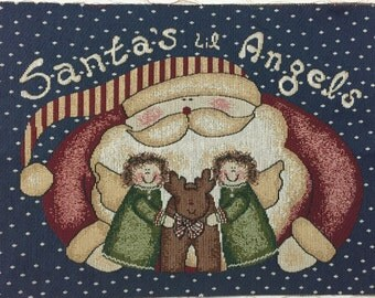 Christmas Tapestry Panel: Reindeer and Santa's Lil Angels