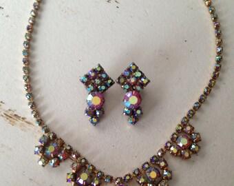 Vintage Pinkish Red Aurora Borealis Rhinestone Necklace and Earrings Set 0388