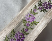 Vintage Purple Floral Ribbon, Vintage Jacquard Swiss Ribbon, Vintage Brocade Ribbon, Swiss Brocade, Floral Brocade, Vintage Rayon Brocade