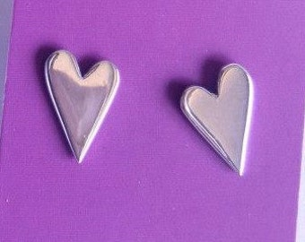 Large Silver heart studs