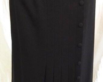 Women's Wrap-Around Pleated Wool Skirt Sz 10 Black