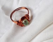Copper and Glass Ring Size 8.25