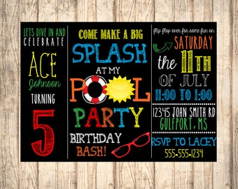 Boy's Birthday Pool Party Invitation DIGITAL FILE