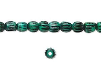 Teal Green Bone Bead, Corrugated Beads, Antiqued, 3 to 4mm, 40 each, D861
