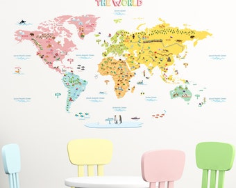 Decowall, DLT-1616, World Map Wall Stickers