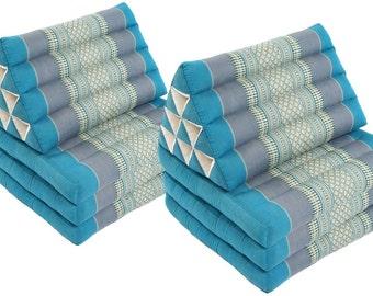 Triangular Lounges (Sky Blues): 2x Triangle 3-fold Mats 100% Kapok