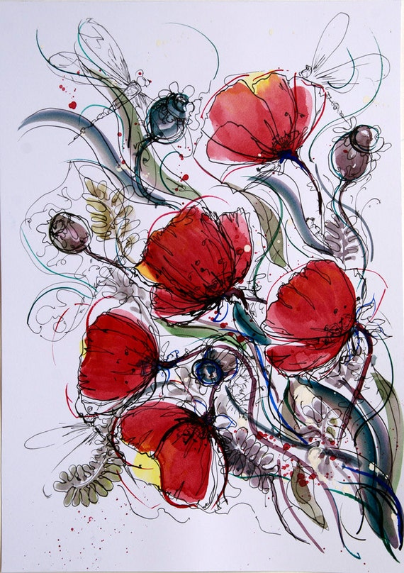 Book Cover Watercolor Red ~ Red poppies wall art flower painting original artwork