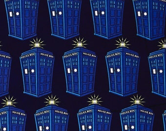 Doctor Who Tardis Comics Police Public Call Box BBC Geek Cotton Fabric by Springs Creative Dr Who per fat quarter per metre FQ