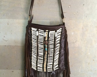 Indian Native style Leather bag, Leather fringe bag, leather handbag, Boho leather bag, Bohemian bag, Cross body bag