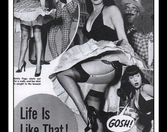 """Vintage Pinup Bettie Page Sexy Nude Pinup Mature Single Sided Wall Art Deco Book Print 5.5"""" x 7.5"""""""