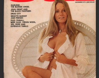 Mature Vintage Playboy's OUI Magazine Mens Girlie Pinup Magazine : November 1972 EX White Pages Aslan Intact Centerfold High Grade Unread