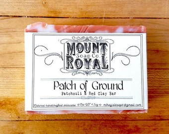 Patch Of Ground / Handmade Patchouli Soap / Moroccan Red Clay Soap / Herbal Infusion Soap / Cold Process Soap / Bath Soap / Bar Soap