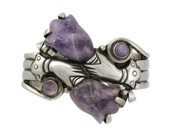William Spratling Sterling Silver Amethyst Tulip Hand Cuff Bracelet