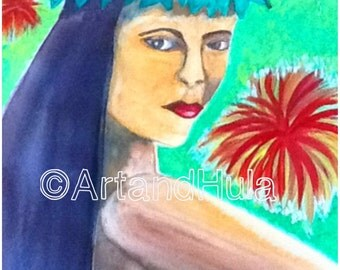 Hawaiian art, tropical art, Hi'iaka, Hawaiian Goddess, Hula Goddess, laser art print 8.5 in x 11 in