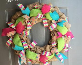 Multicolor Spring/Summer Burlap Wreath
