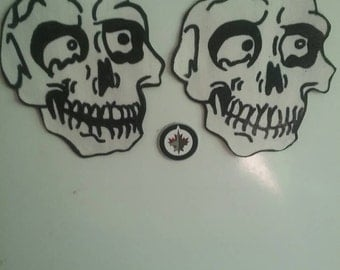 Skulls, skull magnets,  refrigerator magnet, magnets, skull head, kitchen decor, glow-in-the-dark, skeleton head, fun magnets