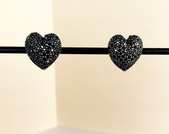 Hematite Swarovski Pave Hand Made Heart Shaped Button Clip Earrings #DCHEART