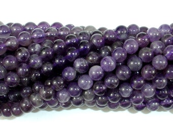 Amethyst Beads, 6mm(6.4mm) Round Beads, 15.5 Inch, Full strand, Approx 63-66 beads, Hole 1mm (115054042)