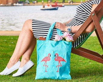 Flamingo in the pool tote. Eco friendly bag!