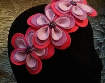 Hand beaded felt flower headband