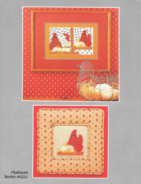 Vintage counted cross stitch chart hens yours truly for Cross stitch kitchen designs