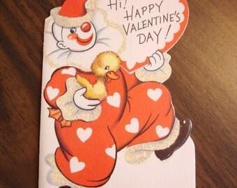 Vintage Valentine, USED, 1950s, no envelope, clown, glitter, Ranch House Vintage