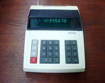 Vintage counting machine working calculator Soviet accounting machine Electronica