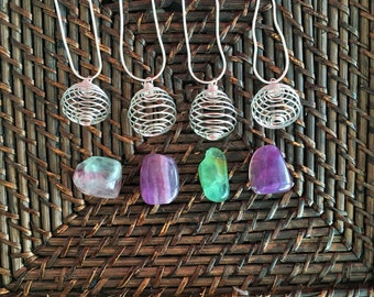 Fluorite Crystal Necklace / Wire Wrapped Pendant Pop in Crystal w/ CHAIN