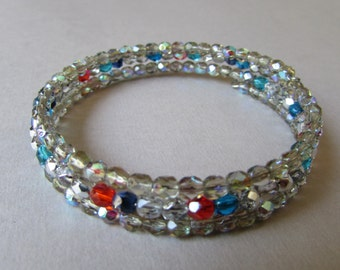 Memory wire bracelet with Multi-Color glass beads