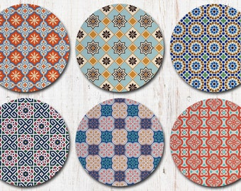 Colorful Moroccan Coasters, Morocco Moorish Marrakesh, Boho, Bohemian, Coaster Set, Drink Coasters, Decorative Coasters