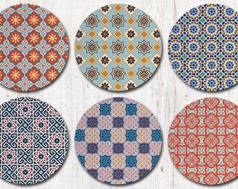 Colorful Moroccan Coasters - Morocco Moorish Marrakesh - Drink Coasters - Decorative Coasters